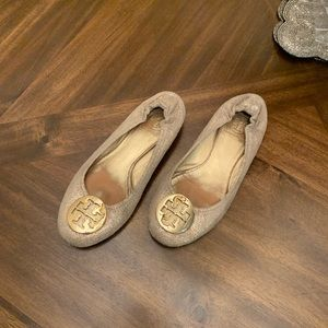 Tory Burch women's loafers flats shoes gold